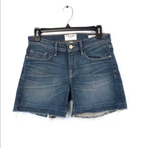 Frame Denim Le Cutoff Mid Rise Frayed Jean Shorts